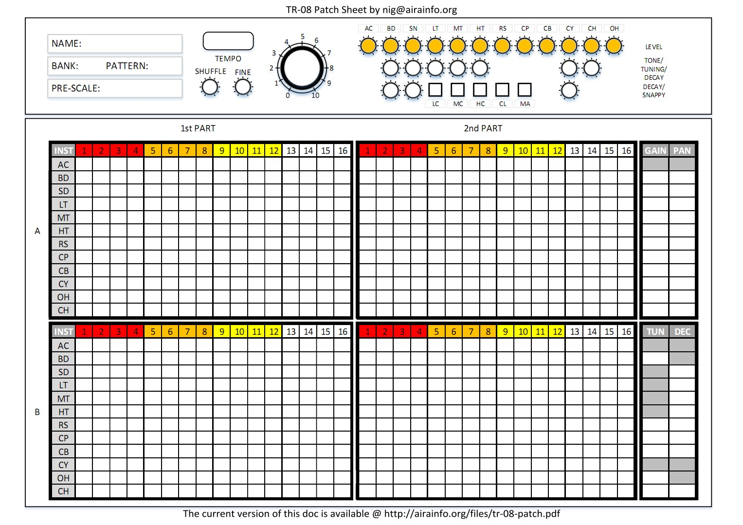 TR-08 Patch Sheet